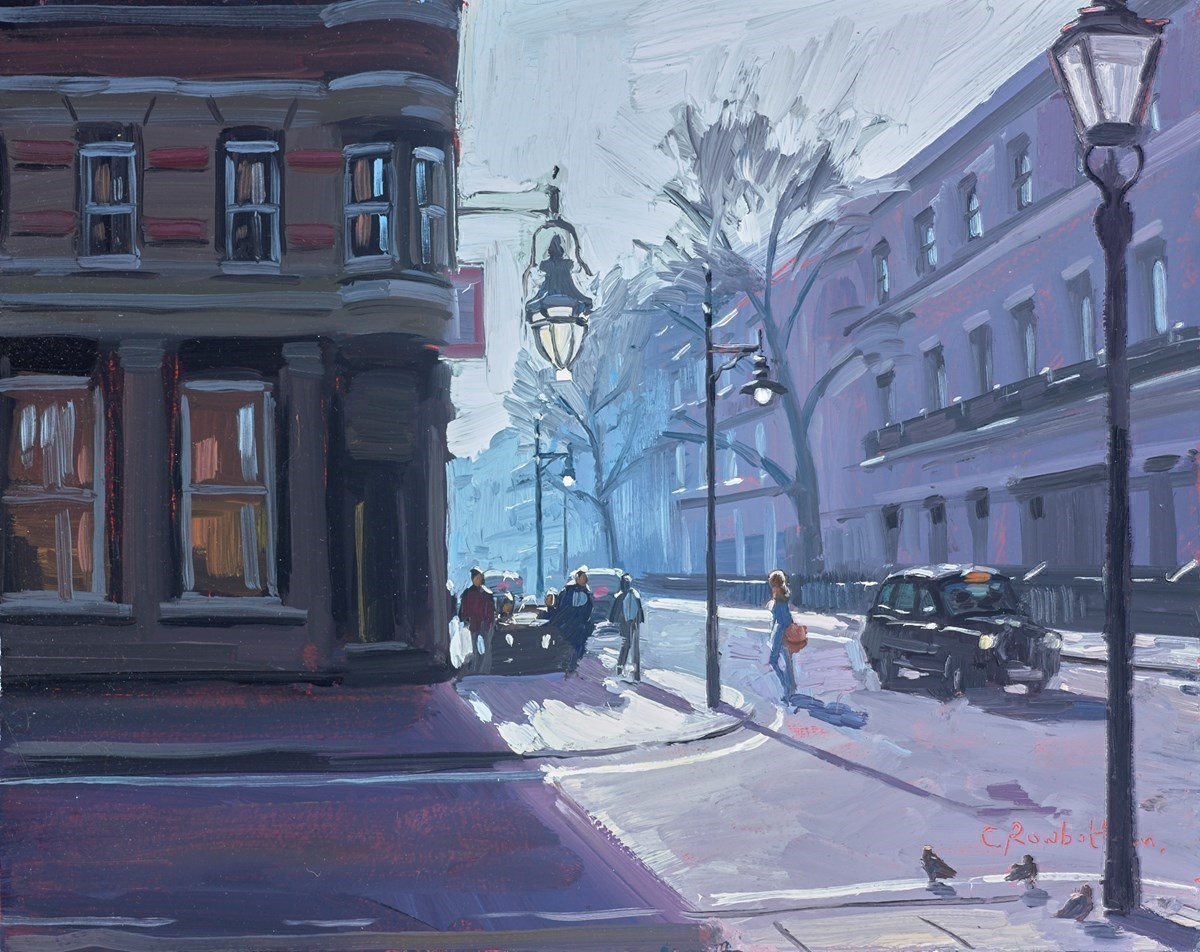 After Work Drinks in London by Charles Rowbotham -  sized 11x9 inches. Available from Whitewall Galleries